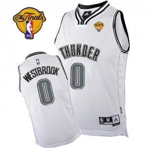 Maillot NBA Oklahoma City Thunder #0 Russell Westbrook Blanc Adidas Authentic Finals Patch - Homme