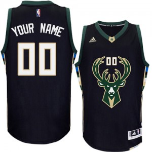 Maillot NBA Milwaukee Bucks Personnalisé Authentic Noir Adidas Alternate - Enfants
