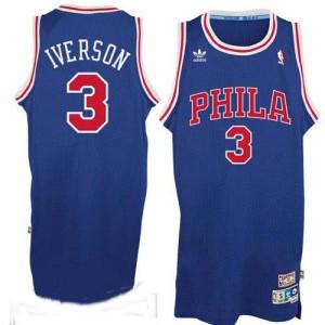 Maillot NBA Bleu / Rouge Allen Iverson #3 Philadelphia 76ers Throwack Swingman Homme Adidas
