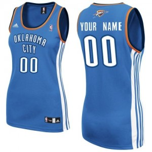 Maillot Adidas Bleu royal Road Oklahoma City Thunder - Swingman Personnalisé - Femme