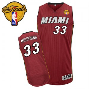 Maillot Authentic Miami Heat NBA Alternate Finals Patch Rouge - #33 Alonzo Mourning - Homme