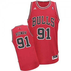 Maillot Swingman Chicago Bulls NBA Road Rouge - #91 Dennis Rodman - Homme
