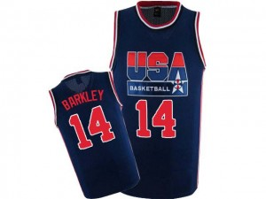 Team USA Nike Charles Barkley #14 2012 Olympic Retro Authentic Maillot d'équipe de NBA - Bleu marin pour Homme