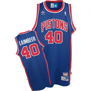 Maillot NBA Authentic Bill Laimbeer #40 Detroit Pistons Throwback Bleu - Homme