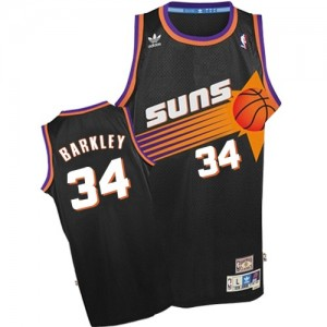 Phoenix Suns Charles Barkley #34 Throwback Authentic Maillot d'équipe de NBA - Noir pour Homme