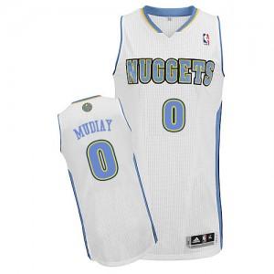 Denver Nuggets #0 Adidas Home Blanc Authentic Maillot d'équipe de NBA pas cher - Emmanuel Mudiay pour Homme