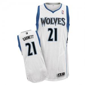 Minnesota Timberwolves #21 Adidas Home Blanc Authentic Maillot d'équipe de NBA Peu co?teux - Kevin Garnett pour Homme
