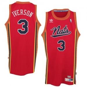 """Philadelphia 76ers #3 Adidas Throwback """"Nats"""" Rouge Authentic Maillot d'équipe de NBA Soldes discount - Allen Iverson pour Homme"""