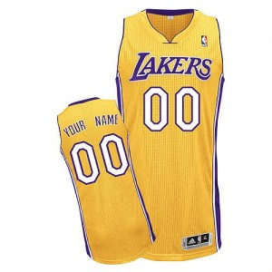 Maillot NBA Or Authentic Personnalisé Los Angeles Lakers Home Enfants Adidas