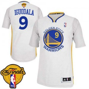 Maillot NBA Golden State Warriors #9 Andre Iguodala Blanc Adidas Authentic Alternate 2015 The Finals Patch - Homme