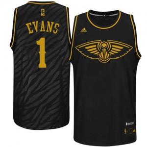 Maillot Authentic New Orleans Pelicans NBA Precious Metals Fashion Noir - #1 Tyreke Evans - Homme