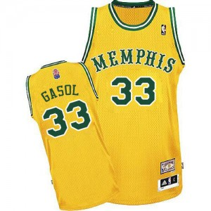 Maillot NBA Memphis Grizzlies #33 Marc Gasol Or Adidas Authentic ABA Hardwood Classic - Homme