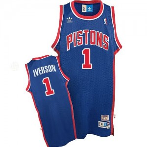 Maillot NBA Bleu Allen Iverson #1 Detroit Pistons Throwback Authentic Homme Adidas