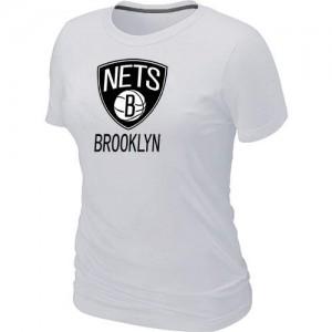 T-shirt principal de logo Brooklyn Nets NBA Big & Tall Blanc - Femme