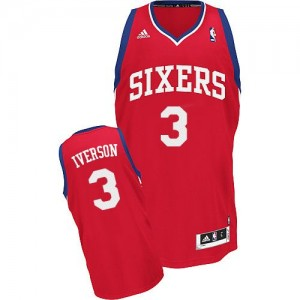 Philadelphia 76ers Allen Iverson #3 Road Swingman Maillot d'équipe de NBA - Rouge pour Homme