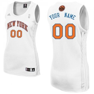 Maillot NBA New York Knicks Personnalisé Swingman Blanc Adidas Home - Femme