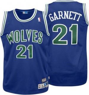 Maillot NBA Bleu Kevin Garnett #21 Minnesota Timberwolves Throwback Authentic Homme Adidas