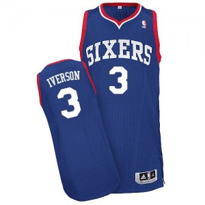 Maillot Adidas Bleu royal Alternate Authentic Philadelphia 76ers - Allen Iverson #3 - Homme