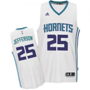 Maillot NBA Blanc Al Jefferson #25 Charlotte Hornets Home Authentic Homme Adidas