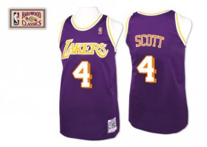 Maillot NBA Swingman Byron Scott #4 Los Angeles Lakers Throwback Violet - Homme