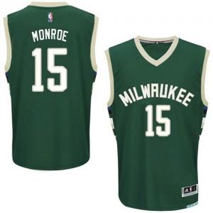 Milwaukee Bucks #15 Adidas Road Vert Authentic Maillot d'équipe de NBA Vente pas cher - Greg Monroe pour Homme