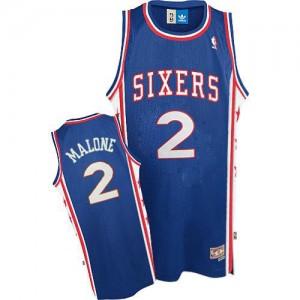 Maillot Adidas Bleu Throwback Swingman Philadelphia 76ers - Moses Malone #2 - Homme