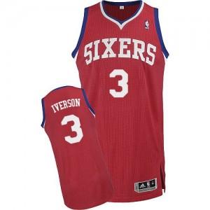 Philadelphia 76ers Allen Iverson #3 Road Authentic Maillot d'équipe de NBA - Rouge pour Homme