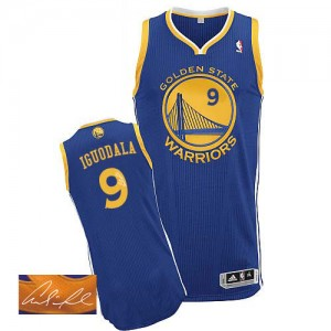 Maillot Adidas Bleu royal Road Autographed Authentic Golden State Warriors - Andre Iguodala #9 - Homme