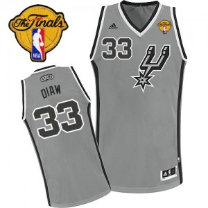 San Antonio Spurs Boris Diaw #33 Alternate Finals Patch Swingman Maillot d'équipe de NBA - Gris argenté pour Homme