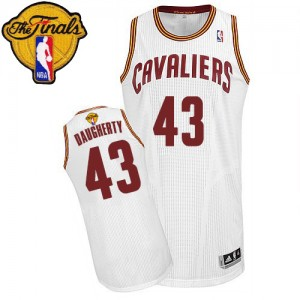 Maillot NBA Cleveland Cavaliers #43 Brad Daugherty Blanc Adidas Authentic Home 2015 The Finals Patch - Homme