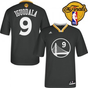 Maillot Authentic Golden State Warriors NBA Alternate 2015 The Finals Patch Noir - #9 Andre Iguodala - Homme