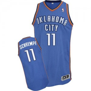 Oklahoma City Thunder Detlef Schrempf #11 Road Authentic Maillot d'équipe de NBA - Bleu royal pour Homme