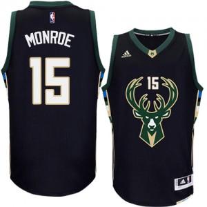 Milwaukee Bucks #15 Adidas Alternate Noir Authentic Maillot d'équipe de NBA pour pas cher - Greg Monroe pour Homme