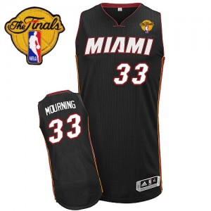 Miami Heat Alonzo Mourning #33 Road Finals Patch Authentic Maillot d'équipe de NBA - Noir pour Homme