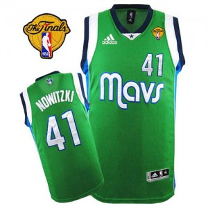 Maillot NBA Dallas Mavericks #41 Dirk Nowitzki Vert Adidas Swingman Finals Patch - Homme
