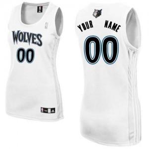 Minnesota Timberwolves Authentic Personnalisé Home Maillot d'équipe de NBA - Blanc pour Femme