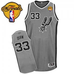 Maillot NBA Authentic Boris Diaw #33 San Antonio Spurs Alternate Finals Patch Gris argenté - Homme