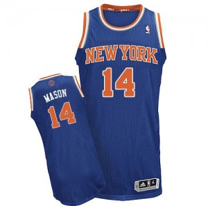 Maillot NBA Bleu royal Anthony Mason #14 New York Knicks Road Authentic Homme Adidas