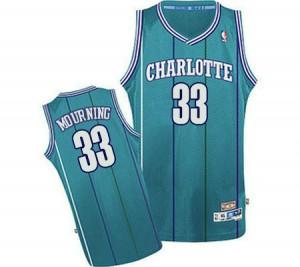 Charlotte Hornets #33 Adidas Throwback Bleu clair Authentic Maillot d'équipe de NBA Remise - Alonzo Mourning pour Homme