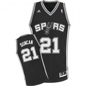 San Antonio Spurs #21 Adidas Road Noir Swingman Maillot d'équipe de NBA magasin d'usine - Tim Duncan pour Enfants