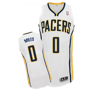 Maillot NBA Indiana Pacers #0 C.J. Miles Blanc Adidas Authentic Home - Homme