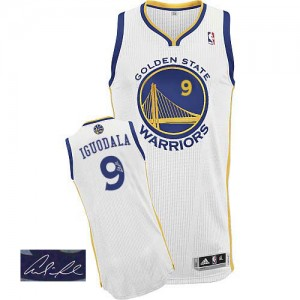 Maillot NBA Blanc Andre Iguodala #9 Golden State Warriors Home Autographed Authentic Homme Adidas