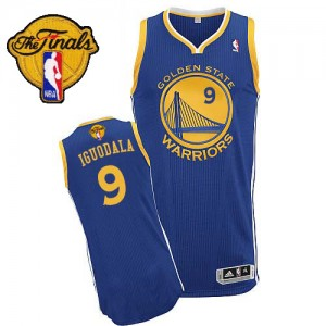 Maillot NBA Bleu royal Andre Iguodala #9 Golden State Warriors Road 2015 The Finals Patch Authentic Homme Adidas
