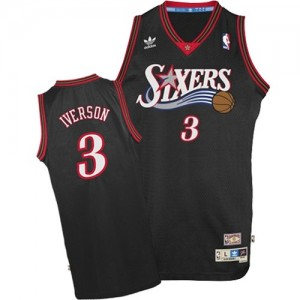 Maillot Adidas Noir 1997-2009 Throwback Swingman Philadelphia 76ers - Allen Iverson #3 - Homme