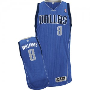 Maillot NBA Bleu royal Deron Williams #8 Dallas Mavericks Road Authentic Homme Adidas