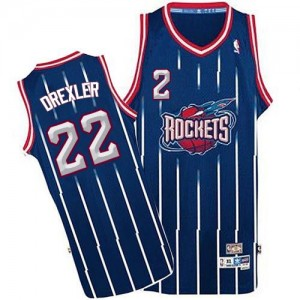 Maillot NBA Authentic Clyde Drexler #22 Houston Rockets Throwback Bleu marin - Homme