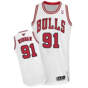 Maillot Authentic Chicago Bulls NBA Home Blanc - #91 Dennis Rodman - Homme