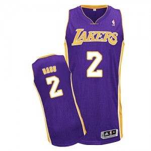 Maillot NBA Los Angeles Lakers #2 Brandon Bass Violet Adidas Authentic Road - Homme