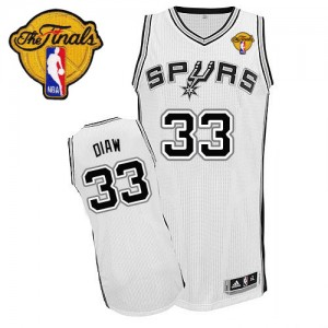Maillot Adidas Blanc Home Finals Patch Authentic San Antonio Spurs - Boris Diaw #33 - Homme