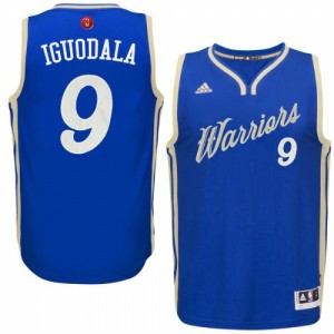 Maillot NBA Golden State Warriors #9 Andre Iguodala Bleu royal Adidas Authentic 2015-16 Christmas Day - Homme